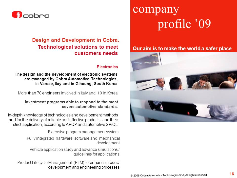 company profile '09 Design and Development in Cobra.