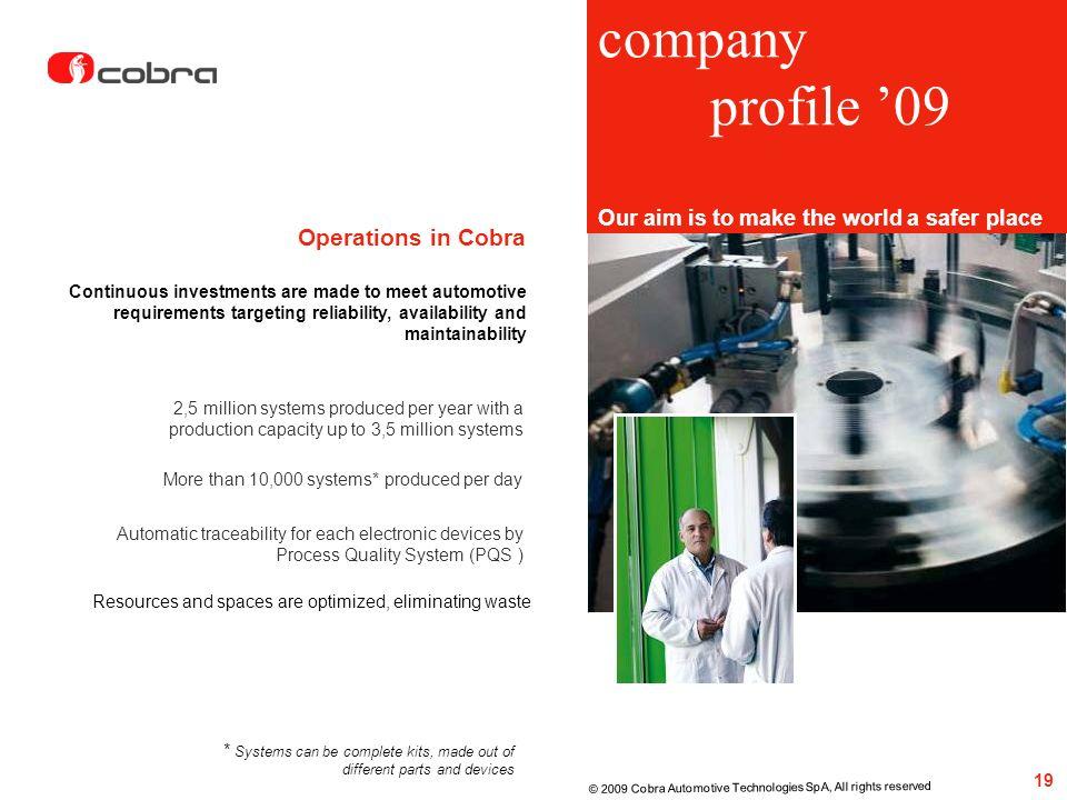 company profile '09 Operations in Cobra