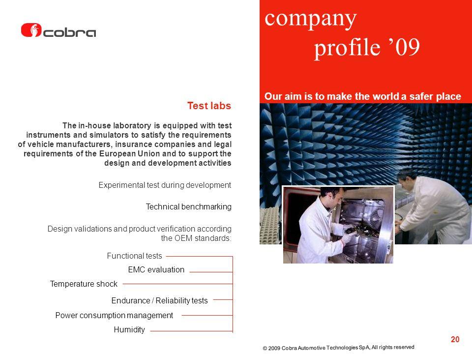 company profile '09 Test labs