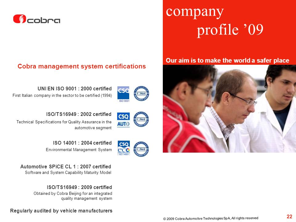 company profile '09 Cobra management system certifications