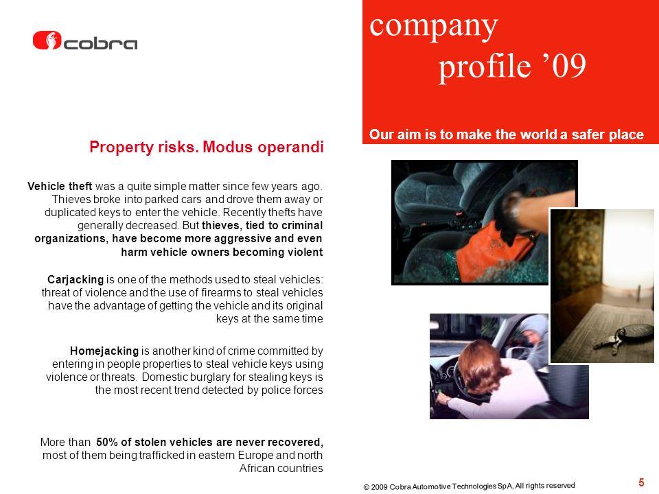 company profile '09 Property risks. Modus operandi