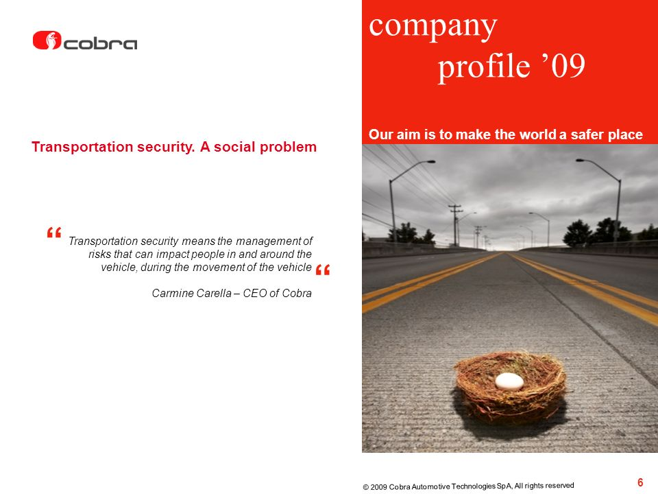 company profile '09 Transportation security. A social problem