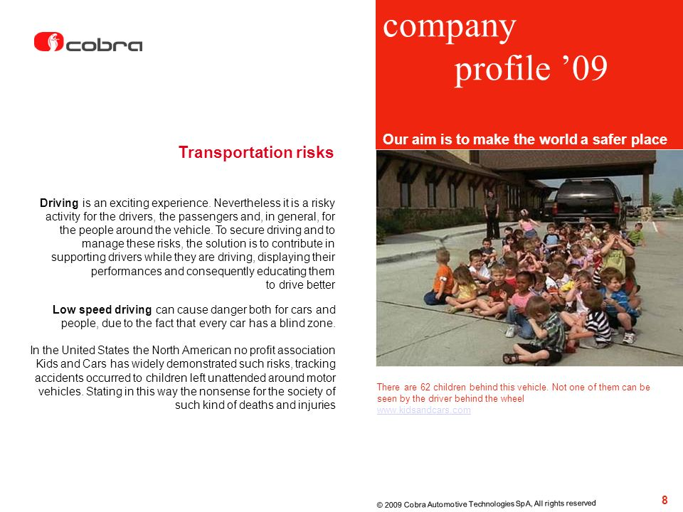 company profile '09 Transportation risks