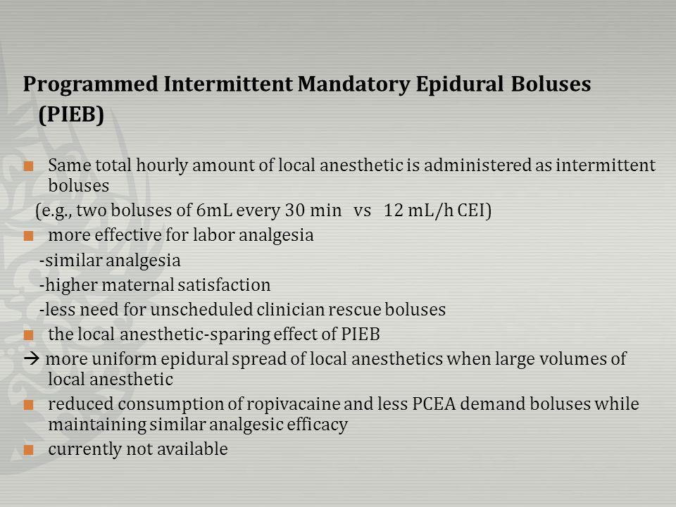 Programmed Intermittent Mandatory Epidural Boluses (PIEB)