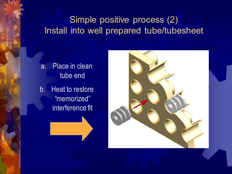 Simple positive process (2) Install into well prepared tube/tubesheet