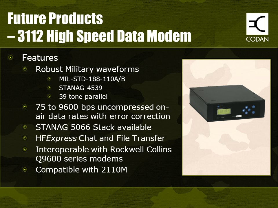Future Products – 3112 High Speed Data Modem
