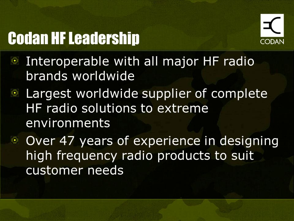 Codan HF Leadership Interoperable with all major HF radio brands worldwide.