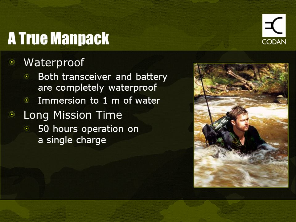 A True Manpack Waterproof Long Mission Time