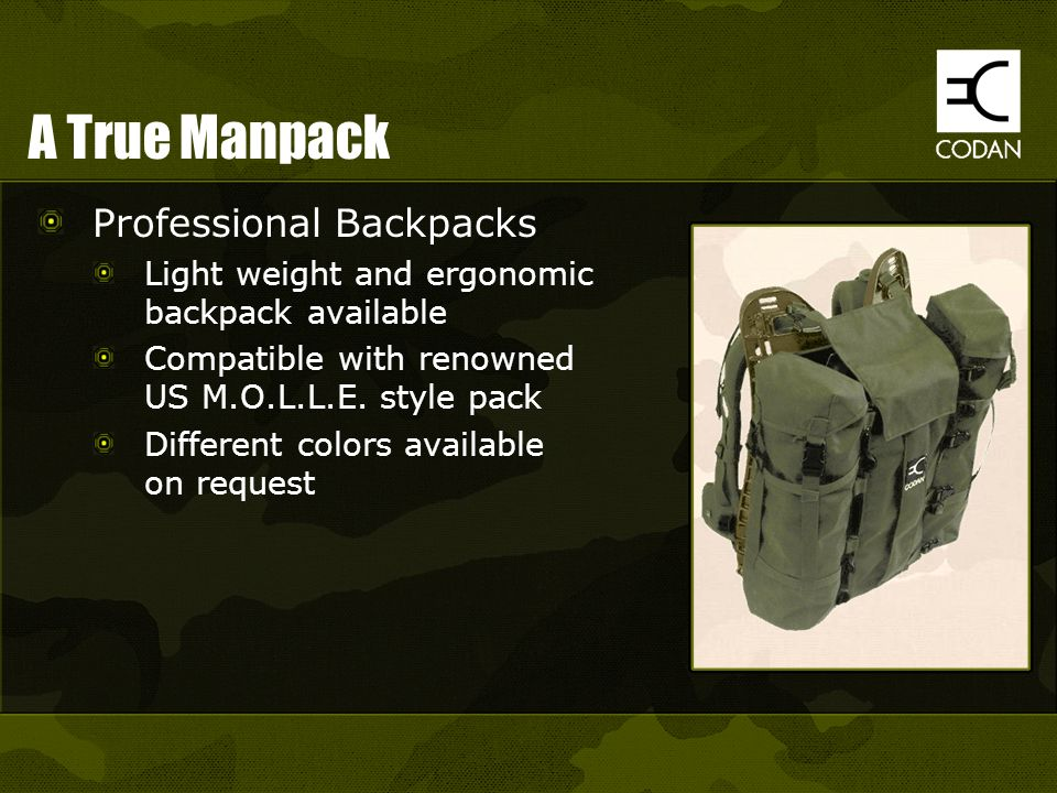 A True Manpack Professional Backpacks