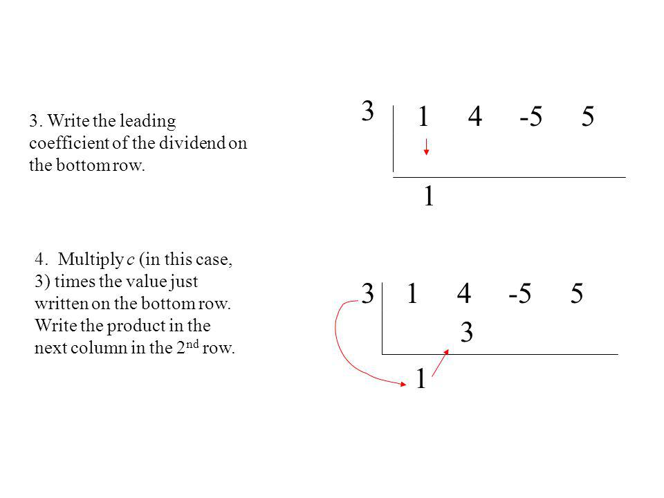 3 1 4 -5 5. 3. Write the leading coefficient of the dividend on the bottom row. 1.