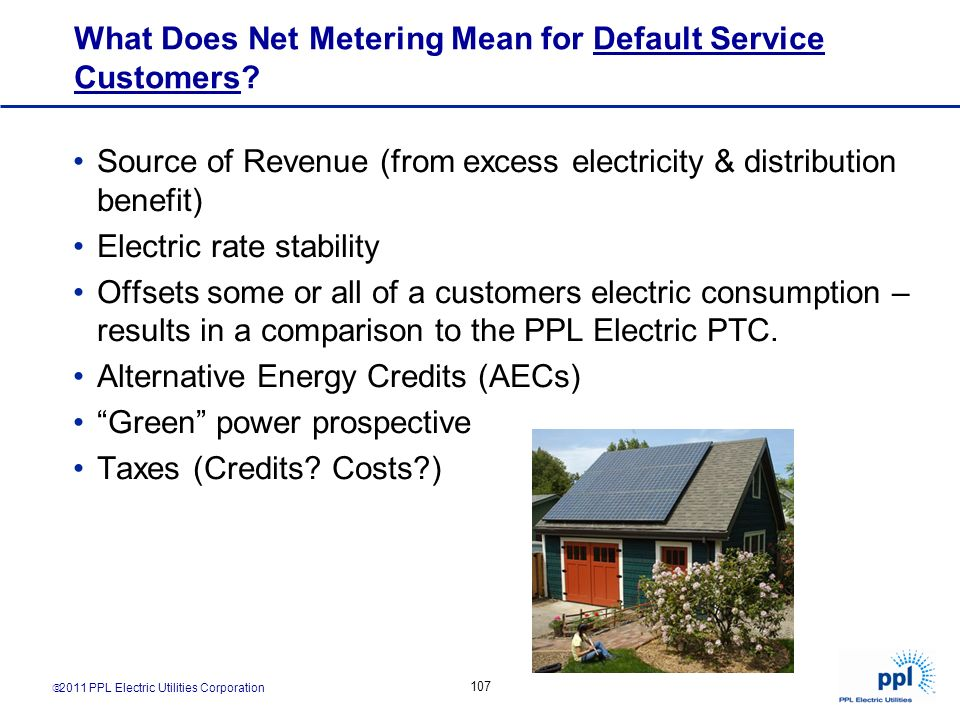 What Does Net Metering Mean for Default Service Customers