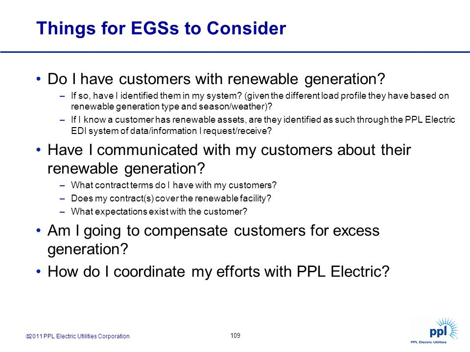 Things for EGSs to Consider