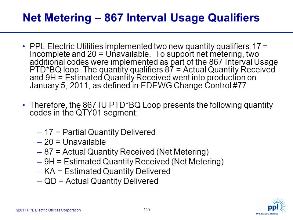 Net Metering – 867 Interval Usage Qualifiers