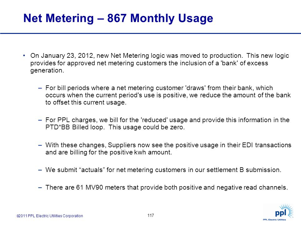 Net Metering – 867 Monthly Usage