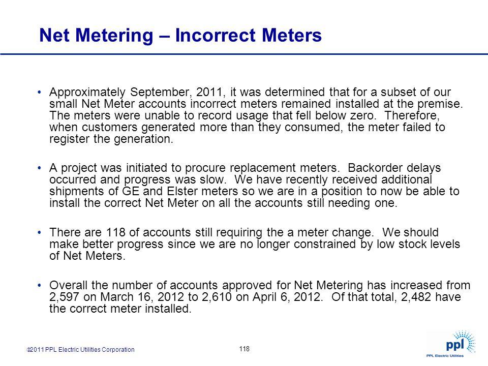 Net Metering – Incorrect Meters