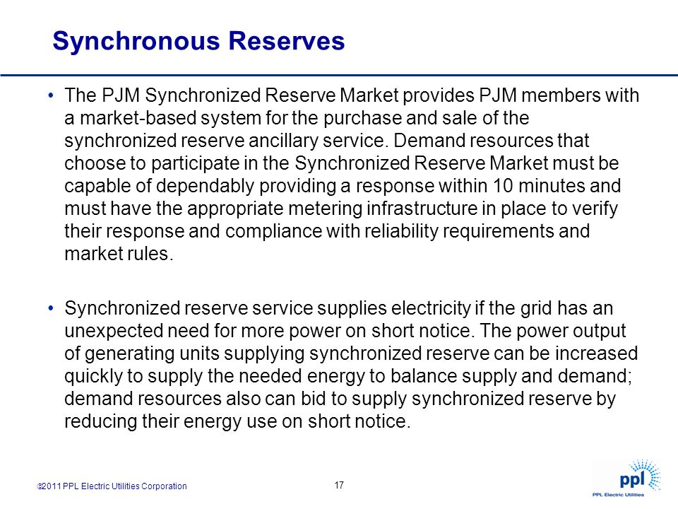 Synchronous Reserves