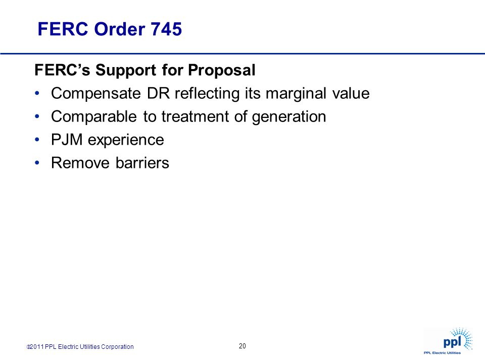 FERC Order 745 FERC's Support for Proposal