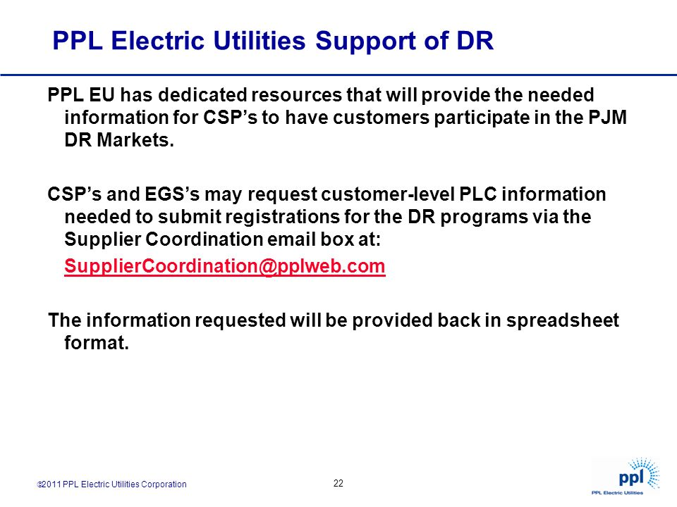 PPL Electric Utilities Support of DR