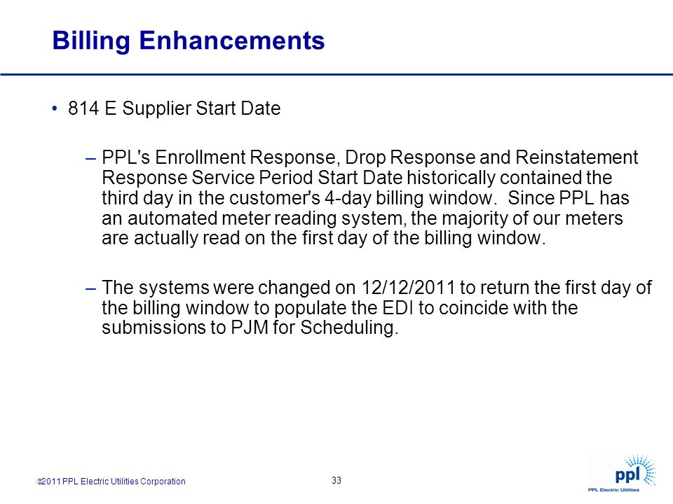 Billing Enhancements 814 E Supplier Start Date