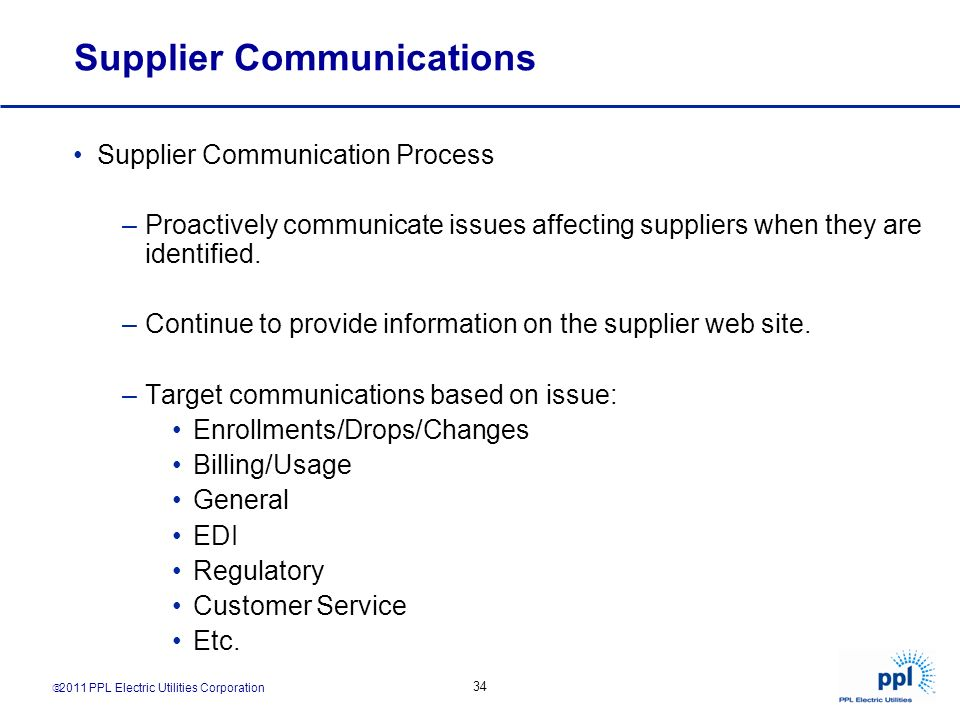 Supplier Communications
