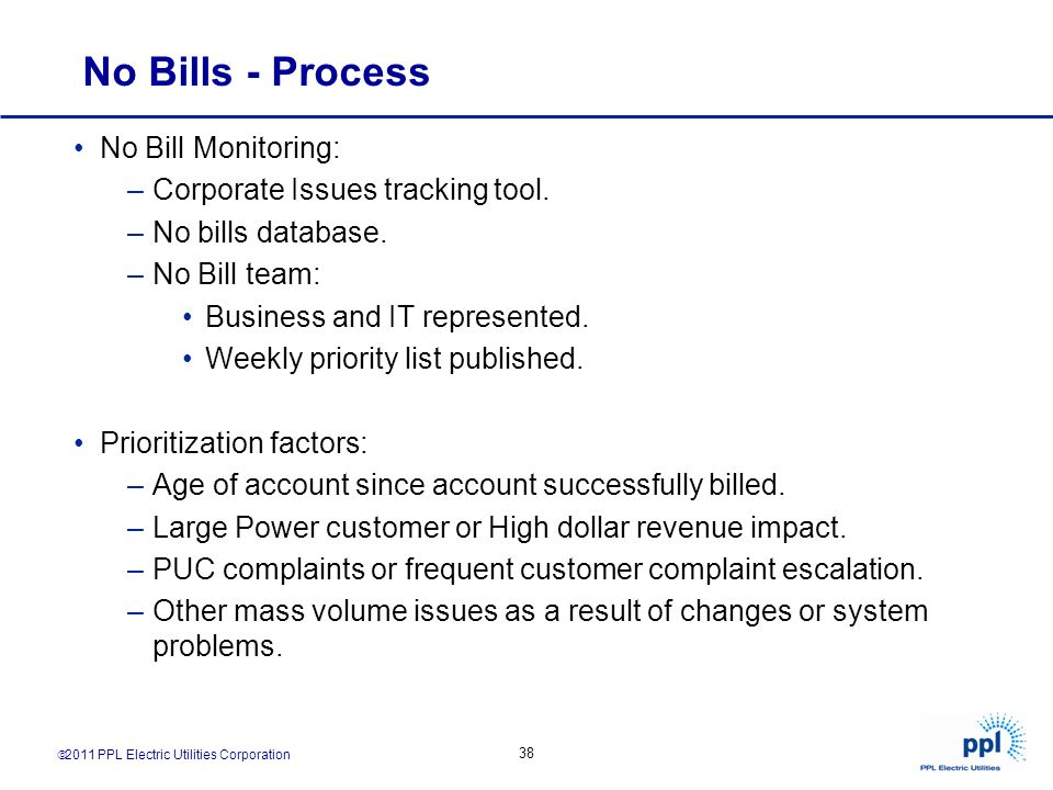 No Bills - Process No Bill Monitoring: Corporate Issues tracking tool.