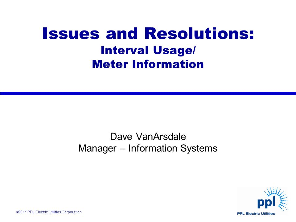 Issues and Resolutions: Interval Usage/ Meter Information Dave VanArsdale Manager – Information Systems