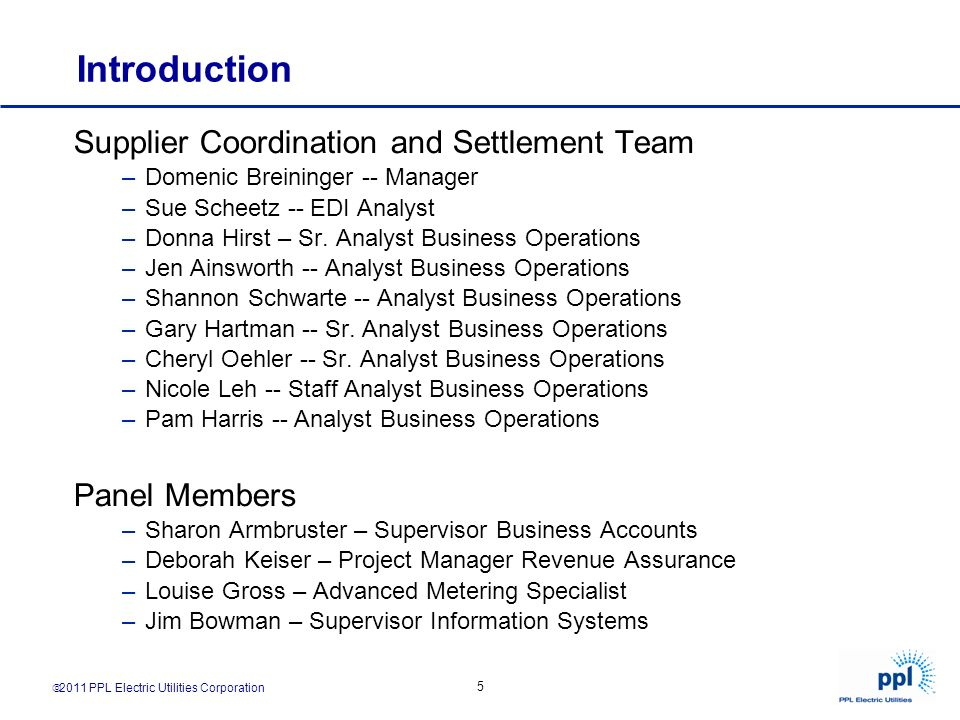 Introduction Supplier Coordination and Settlement Team Panel Members
