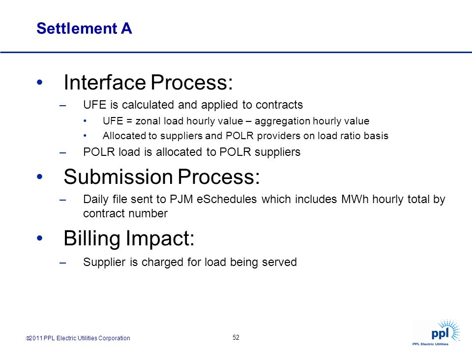 Interface Process: Submission Process: Billing Impact: Settlement A
