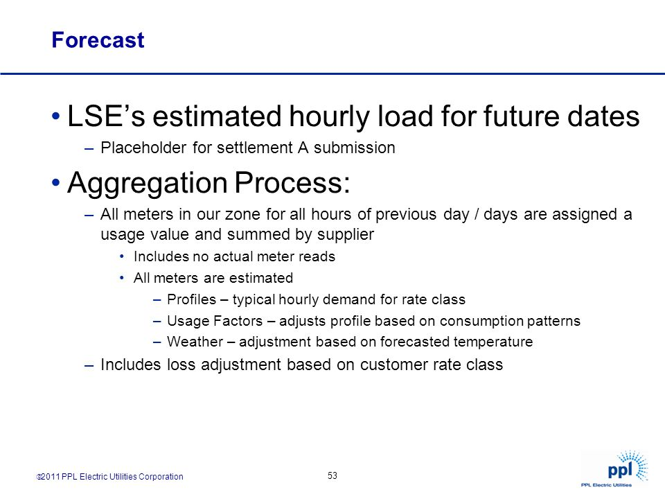 LSE's estimated hourly load for future dates Aggregation Process:
