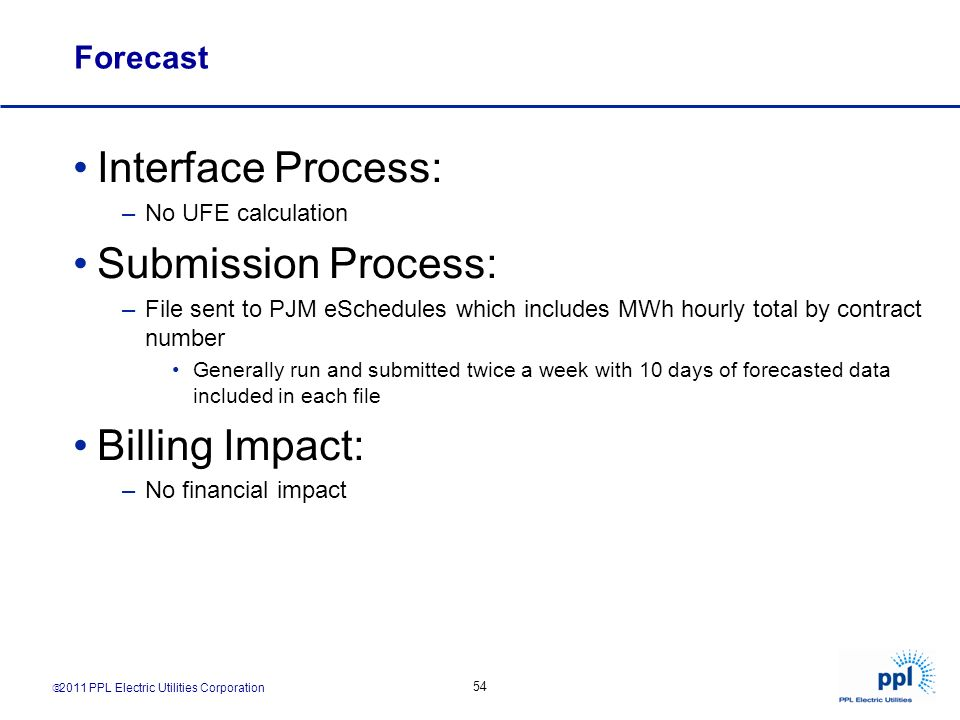 Interface Process: Submission Process: Billing Impact: Forecast