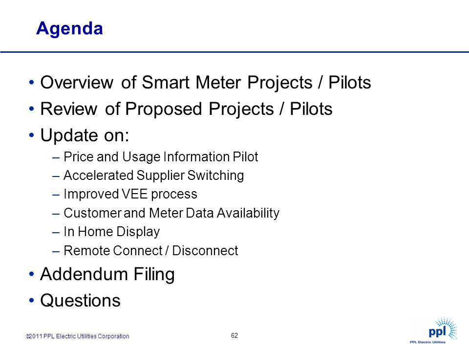 Overview of Smart Meter Projects / Pilots