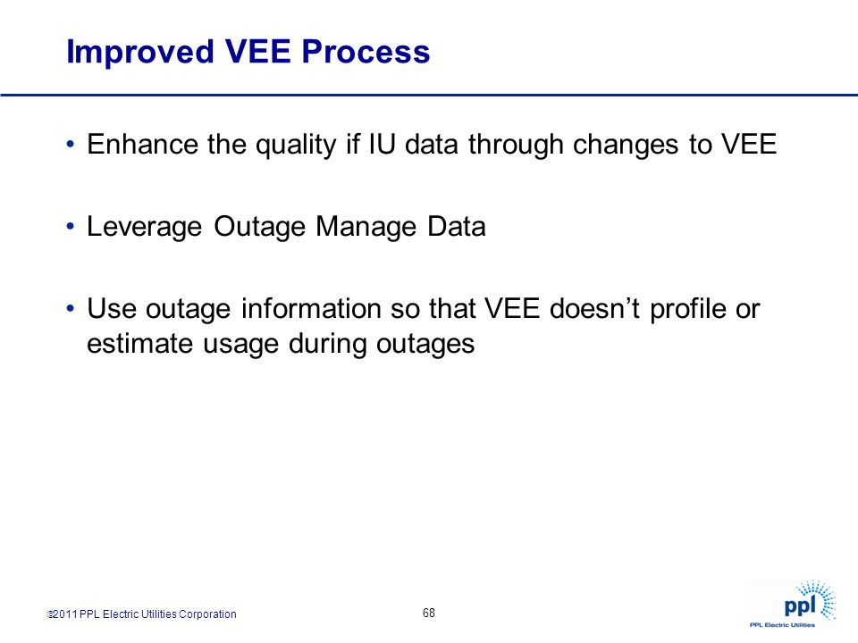 Improved VEE Process Enhance the quality if IU data through changes to VEE. Leverage Outage Manage Data.