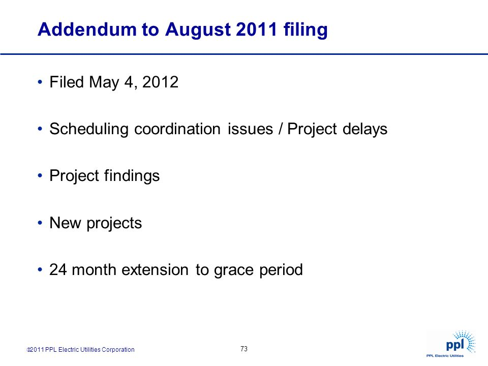 Addendum to August 2011 filing