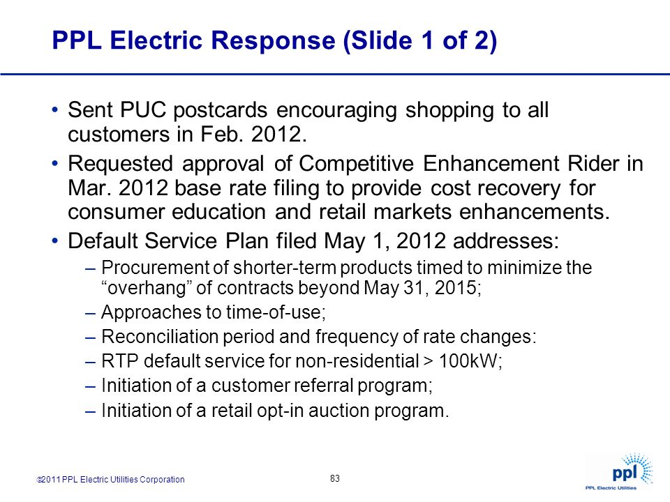 PPL Electric Response (Slide 1 of 2)