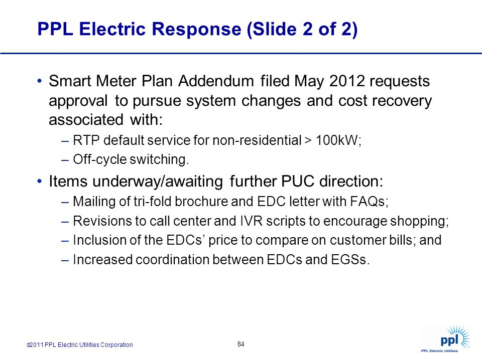 PPL Electric Response (Slide 2 of 2)