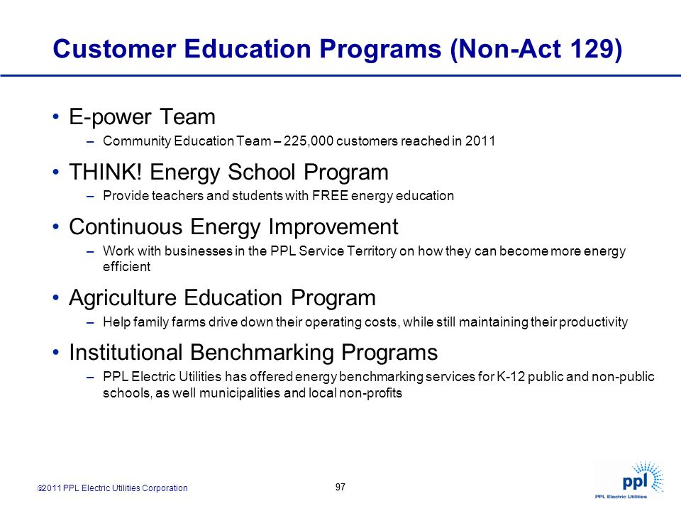 Customer Education Programs (Non-Act 129)