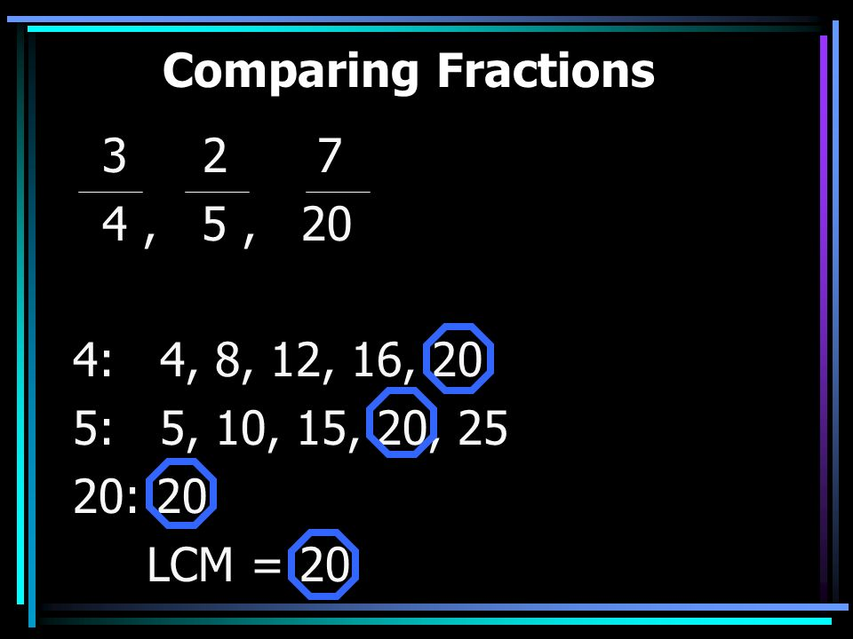 Comparing Fractions 3 2 7. 4 , 5 , 20. 4: 4, 8, 12, 16, 20. 5: 5, 10, 15, 20, 25.