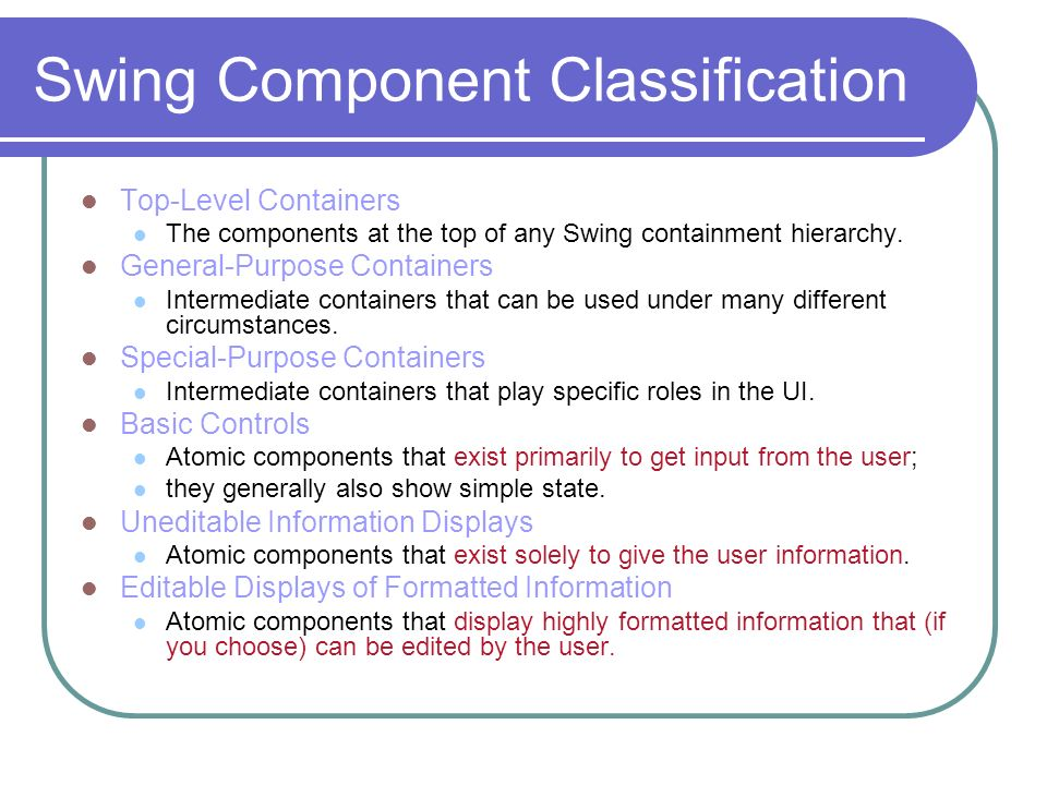 Swing Component Classification