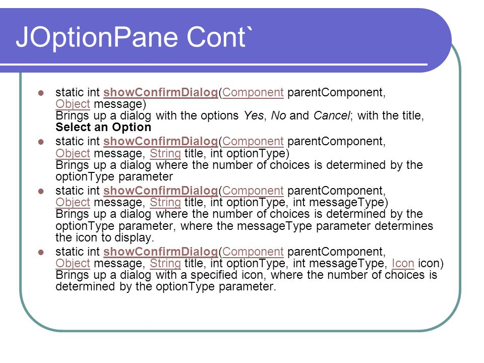 JOptionPane Cont`