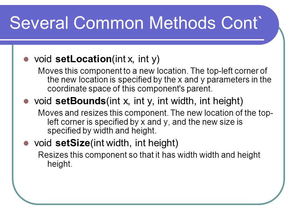 Several Common Methods Cont`