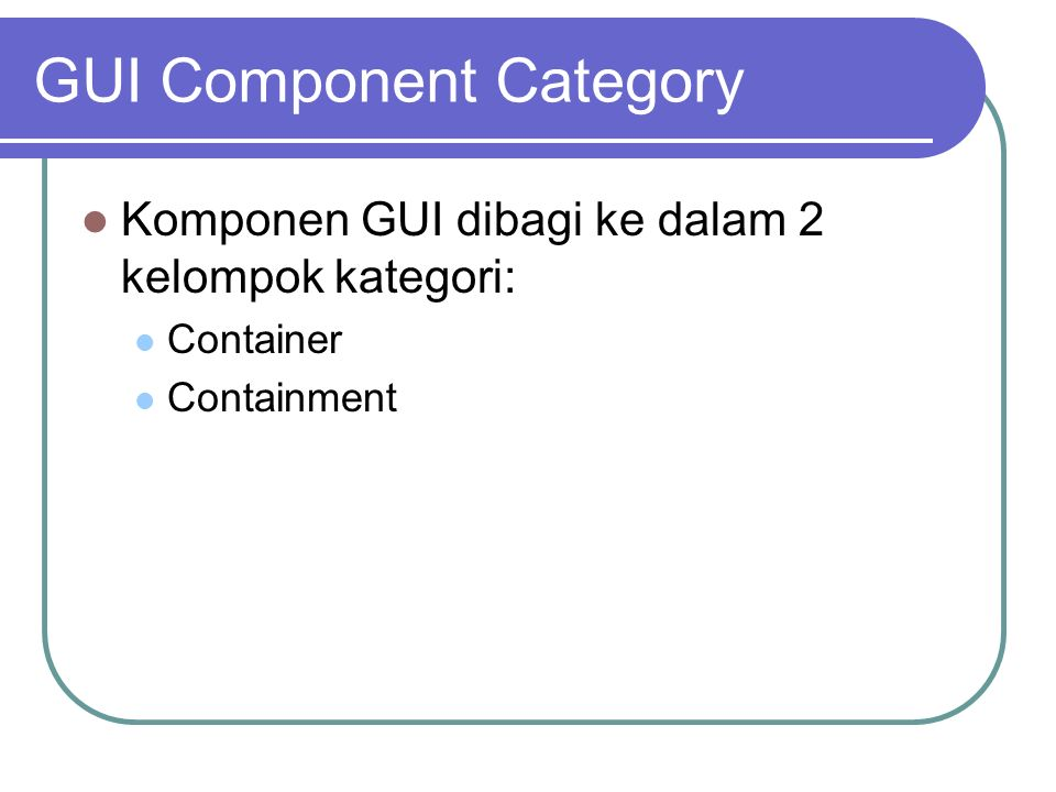 GUI Component Category
