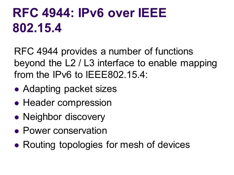 RFC 4944: IPv6 over IEEE 802.15.4