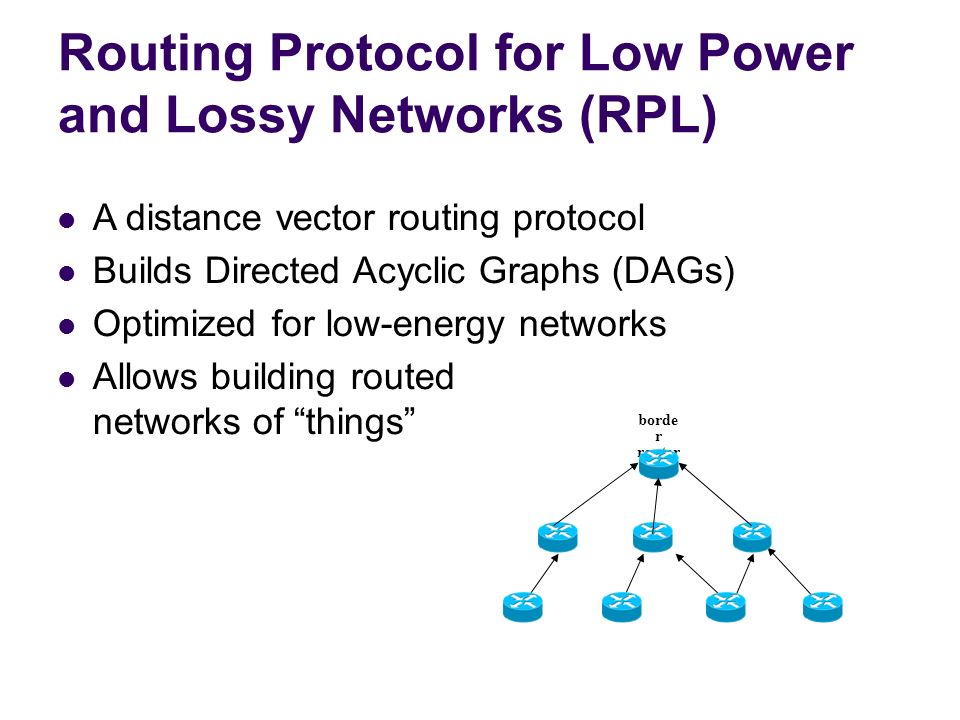 Routing Protocol for Low Power and Lossy Networks (RPL)