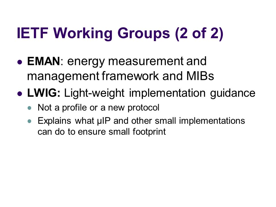 IETF Working Groups (2 of 2)