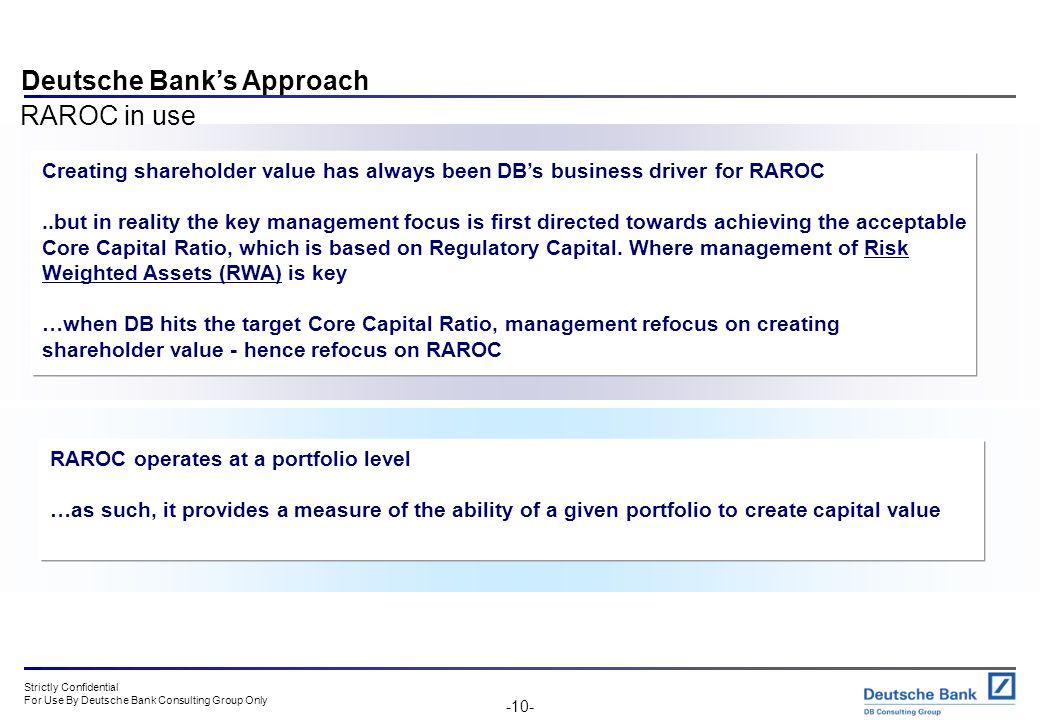 Deutsche Bank's Approach RAROC in use