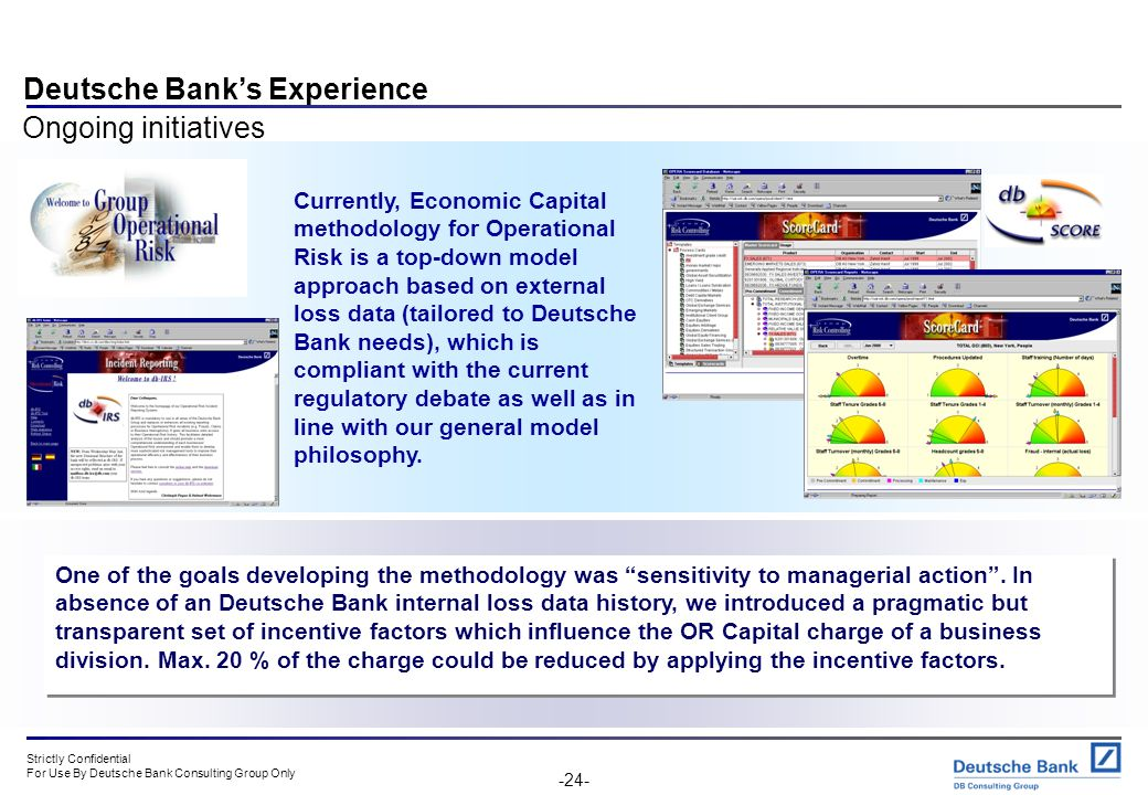 Deutsche Bank's Experience Ongoing initiatives