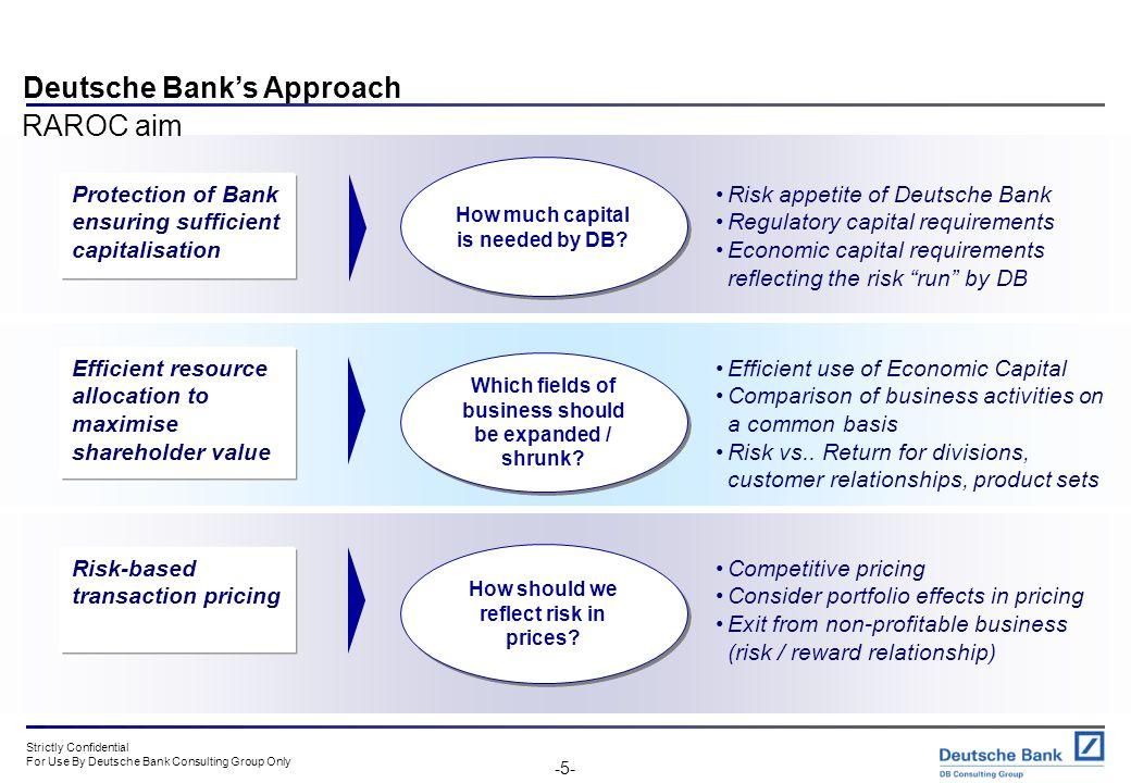 Deutsche Bank's Approach RAROC aim