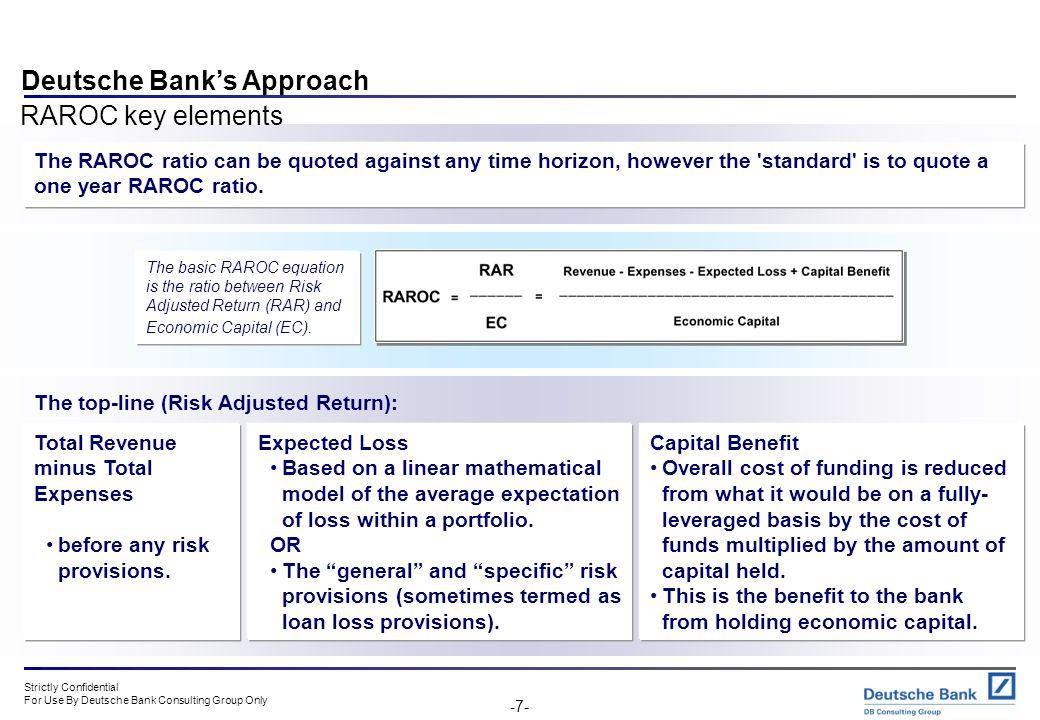 Deutsche Bank's Approach RAROC key elements