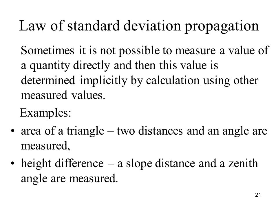 Law of standard deviation propagation