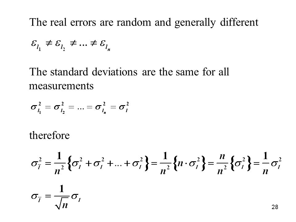 The real errors are random and generally different
